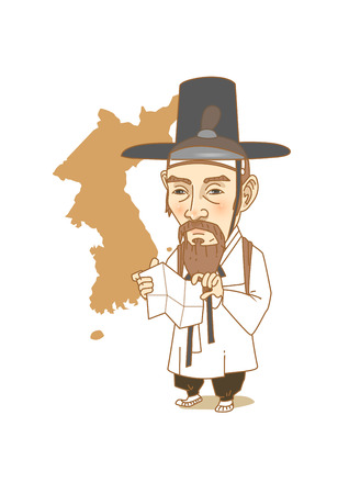 Famous historical figures caricature isolated in white - Korean, Geologist Kim Jeong-ho 向量圖像