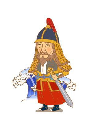 Beroemde historische figuren karikatuur geïsoleerd in het wit - Koreaans, admiraal Yi Sun-shin