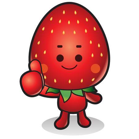 Fresh vegetables,fruits character icon isolated in white - Strawberry