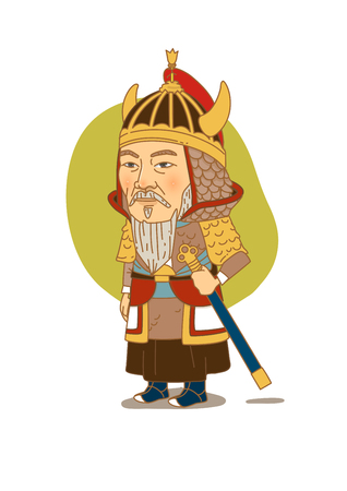 admiral: Famous historical figures caricature isolated in white - Korean, Admiral Yi Sun-shin Illustration