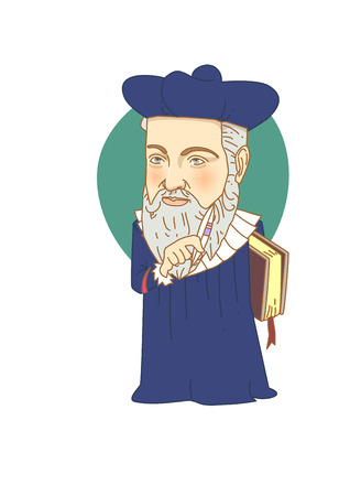 Famous historical figures caricature isolated in white - Galileo Galilei Illustration