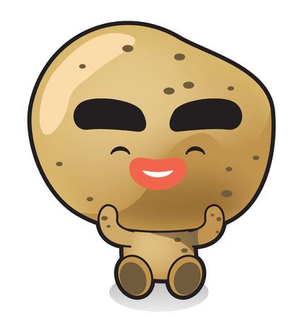Légumes frais, icône de caractère de fruits isolé en blanc - pommes de terre Banque d'images - 84866083