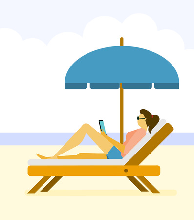 Woman life with smartphone,devices illustration - Beach,ocean,reading,holiday,vacation