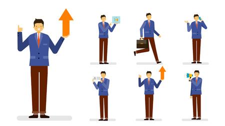 Professional occupation icon set,ensemble illustration - Male business man in suit Illustration