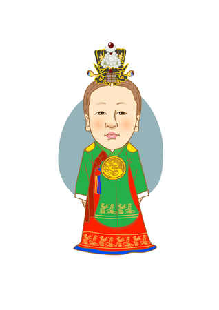 Famous historical figures caricature isolated in white - Korean, Royal Concubine, Jang Hui-bin
