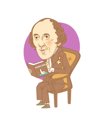 Famous historical figures caricature isolated in white - Hans Christian Andersen