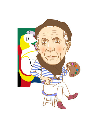 Famous historical figures caricature isolated in white - Picasso