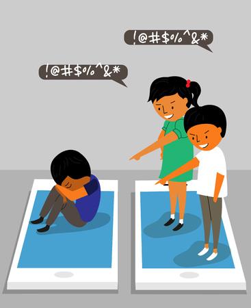 Verschillende soorten geweld - online, SNS, pesten, verbaal Stock Illustratie