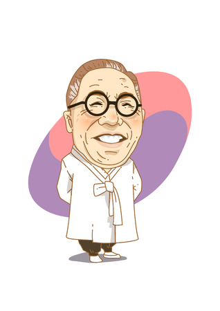 Famous historical figures caricature isolated in white - Korean liberation movement activist, Kim Koo