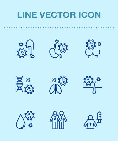One color line icon set,ensemble illustration - Medical,hospital,doctors,health,patient Illustration