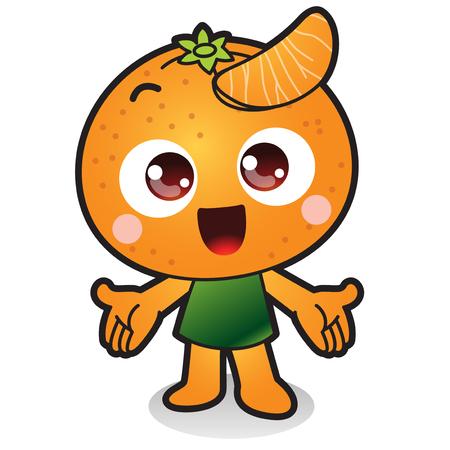 Légumes frais, icône de caractère de fruits isolé en blanc - mandarine, orange Banque d'images - 84866110