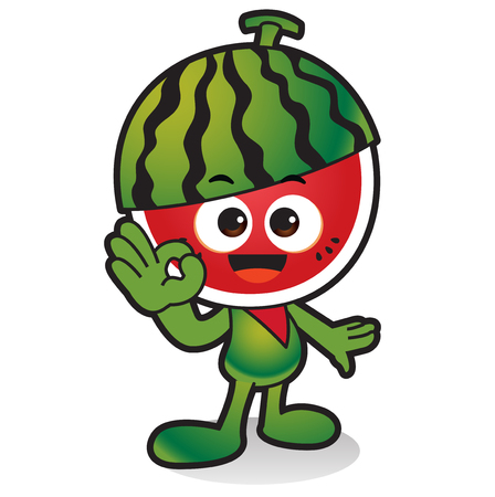 Fresh vegetables,fruits character icon isolated in white - Watermelon Illustration
