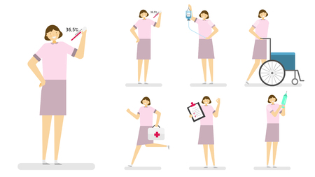 Professional occupation icon set,ensemble illustration - Female nurse Illustration