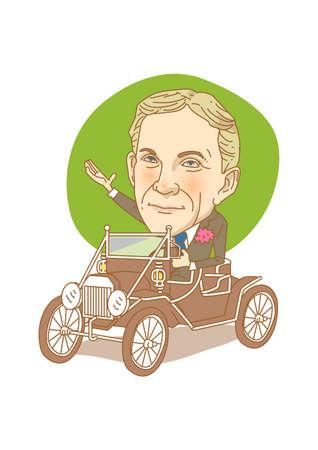 Figura caricatura famosa de figuras históricas aislada en blanco - Henry Ford Vectores