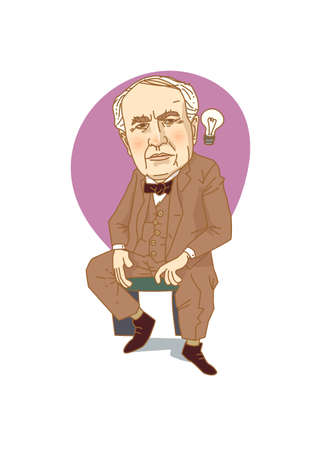 Famous historical figures caricature isolated in white - Edison Illustration