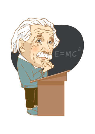 basic figure: Famous historical figures caricature isolated in white - Albert Einstein