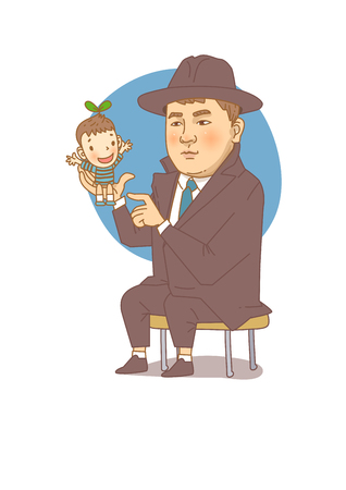 Famous historical figures caricature isolated in white - Korean, children book author Bang Jeong-hwan