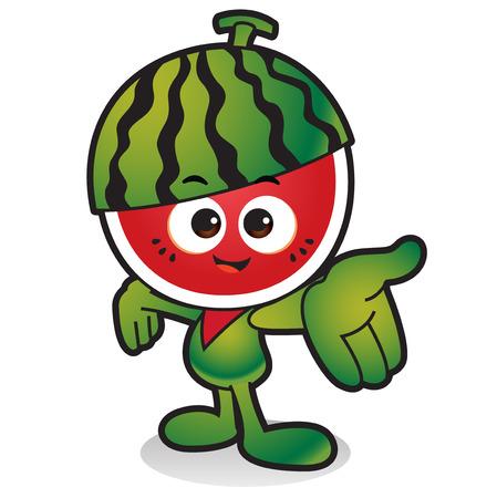 Légumes frais, icône de caractère fruits isolé en blanc - pastèque Banque d'images - 84866138