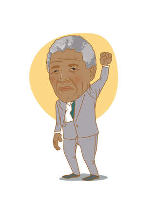 Famous historical figures caricature isolated in white - Nelson Mandela