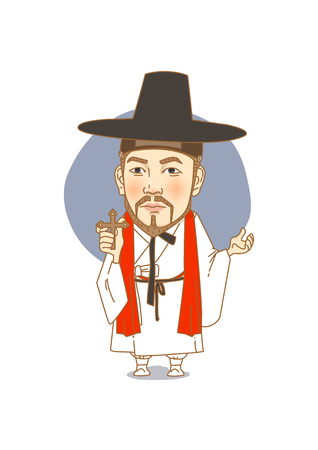 Famous historical figures caricature isolated in white - Korean, first catholic priest Andrew Kim Taegon