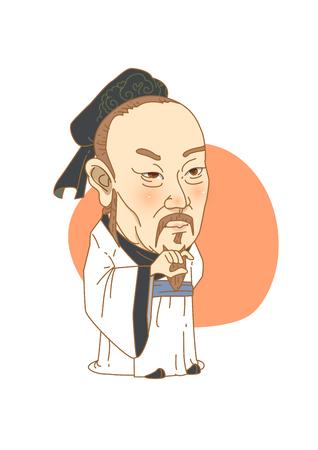Beroemde historische cijferskarikatuur die in wit wordt geïsoleerd - Confucius