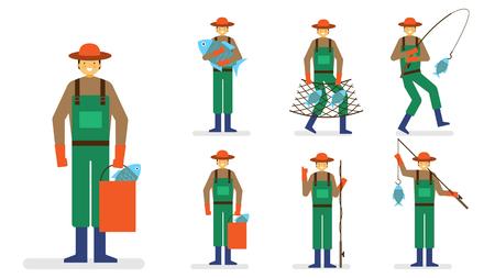 fishing village: Professional occupation icon set, ensemble illustration - Fisher man