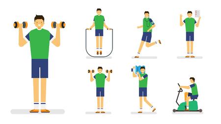 Professional occupation icon set,ensemble illustration - Fitness therapist,Trainer