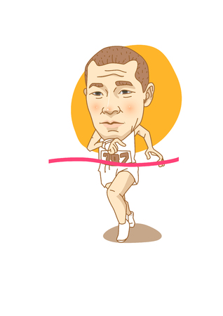 Famous historical figures caricature isolated in white - Korean, Marathoner Son Ki-chong