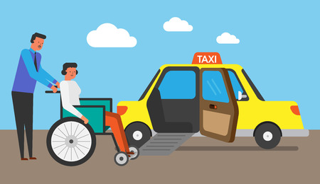 Illustration of life with automobile,car,vehicle - Taxi,Cab Çizim