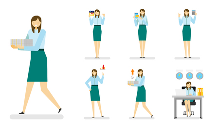 woman laptop: Professional occupation icon set,ensemble illustration - Female business person in suit