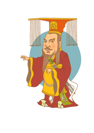 rey caricatura: Famous historical figures caricature isolated in white - King Zheng of Qin