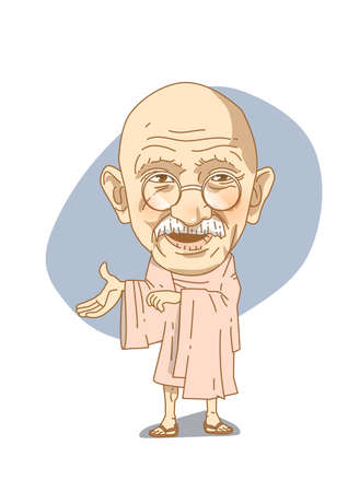 Famous historical figures caricature isolated in white - Gandhi