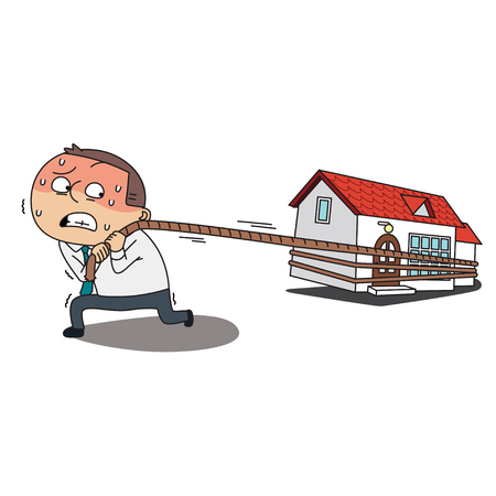 Father job illustration - House,home mortgage payment