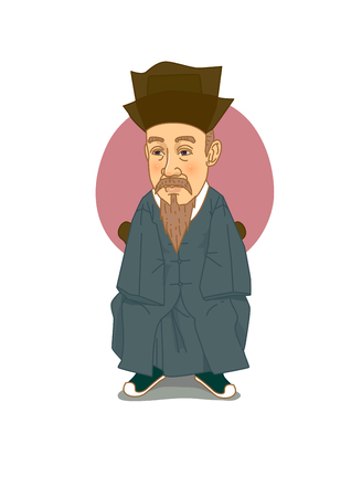 Famous historical figures caricature isolated in white - Korean, Great scholar, Hwang Hui 向量圖像