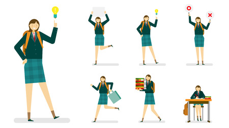 institute: Professional occupation icon set,ensemble illustration - Girl,female Student in school uniform Illustration
