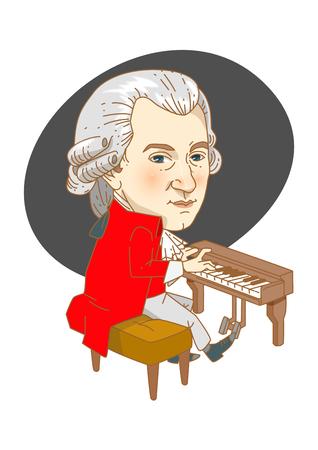Beroemde historische cijferskarikatuur die in wit wordt geïsoleerd - Mozart Stockfoto - 84866173