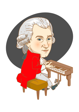 Famous historical figures caricature isolated in white - Mozart