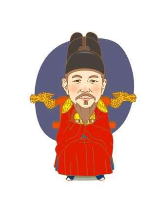 rey caricatura: Famous historical figures caricature isolated in white - Korean, the great king Sejong Vectores