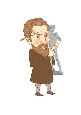 Caricature storiche personali caricature isolate in bianco - Michelangelo