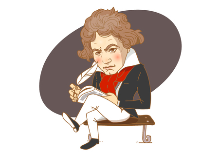 Famous historical figures caricature isolated in white - Beethoven