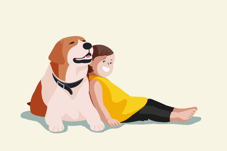 귀여운 그림 격리 - 아기, 작은 아이와 애완 동물, 강아지, 강아지