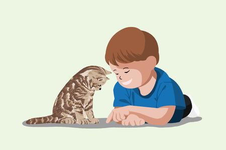 귀여운 그림 격리 - 아기, 작은 아이와 애완 동물, 고양이, 새끼 고양이