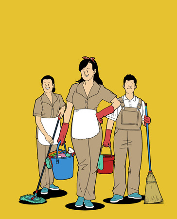 Various service business isolated in yellow illustration - Cleaning,Janitor Illustration