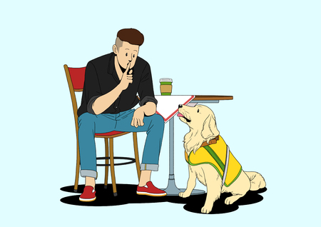 Illustration of dogs helping people - On training