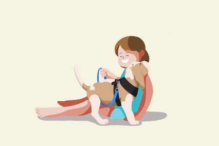 Cute illustration isolated - Baby,little kid and pet,dog,puppy Illustration