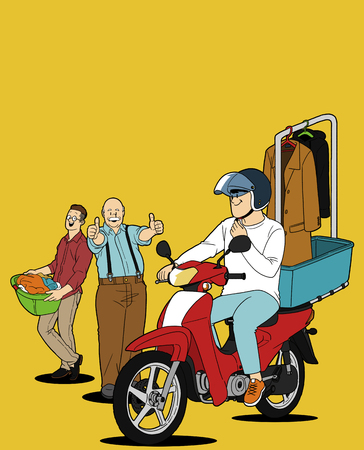 rearview: Various service business isolated in yellow illustration - Laundry delivery