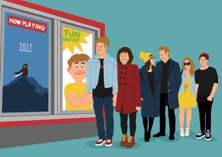 Illustratie van mensen in de rij - bioscoop, bioscoop