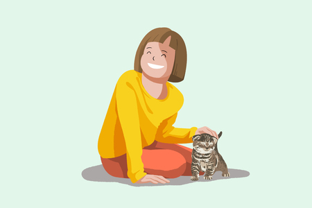 Cute illustration isolated - Baby,little kid and pet,cat,kitten