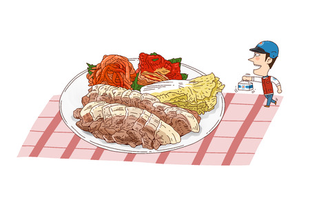 흰색으로 격리 음식 배달 그림 - 찐된 돼지 고기 스톡 콘텐츠 - 84866428