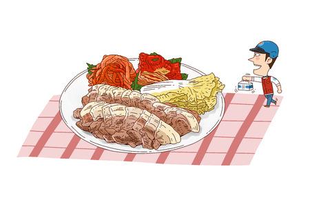 De illustratie van de voedsellevering in wit wordt geïsoleerd - Gestoomd varkensvlees dat